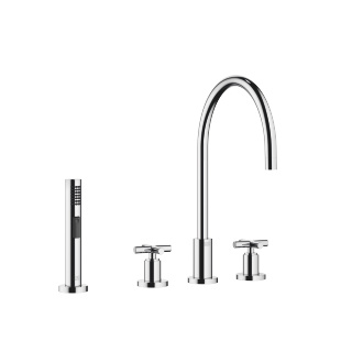 Three-hole mixer with side spray set - polished chrome