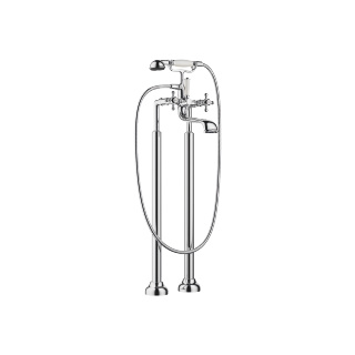 Two-hole tub mixer for freestanding installation with hand shower set - polished chrome