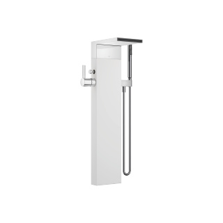 Single-lever tub mixer with cascade spout for freestanding installation with hand shower set - polished chrome