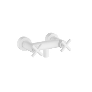 Shower mixer for wall-mounted installation - white matte