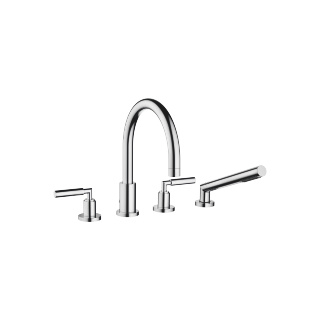 Deck-mounted tub mixer, with hand shower set for deck-mounted tub installation - polished chrome
