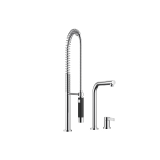 Two-hole mixer with individual rosettes with profi spray set - polished chrome