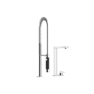 Two-hole mixer with cover plate with profi spray set - polished chrome