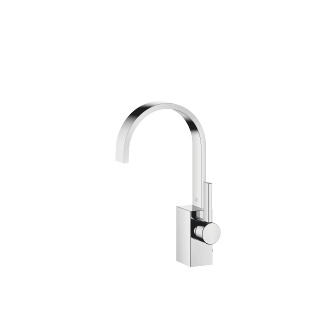Single-lever lavatory mixer with drain - polished chrome