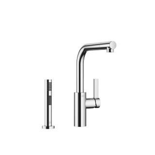 Single-lever mixer with rinsing spray set - polished chrome