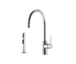 Single-lever mixer with side spray set - polished chrome