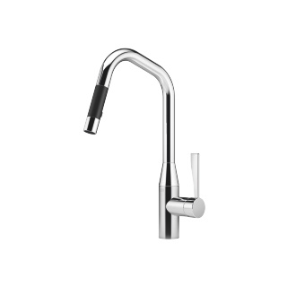 Single-lever mixer pull-down with spray function - polished chrome