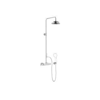 Exposed shower set with shower thermostat - polished chrome