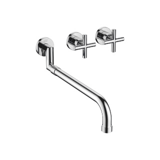 Wall-mounted three-hole kitchen mixer with pull-out spout - polished chrome