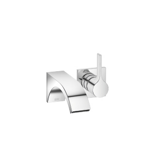 Wall-mounted single-lever basin mixer without pop-up waste - polished chrome