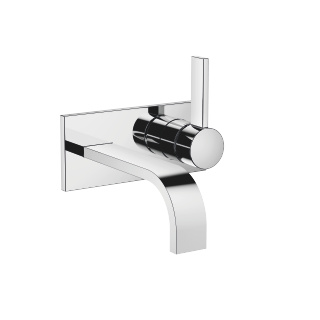 Wall-mounted single-lever basin mixer with cover plate without pop-up waste - polished chrome