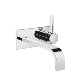 Wall-mounted single-lever mixer with cover plate without drain - polished chrome