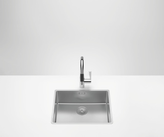 Single sink - polished high-grade steel