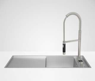 eUNIT KITCHEN Electronic functional unit integrated into the sink  - platinum matt